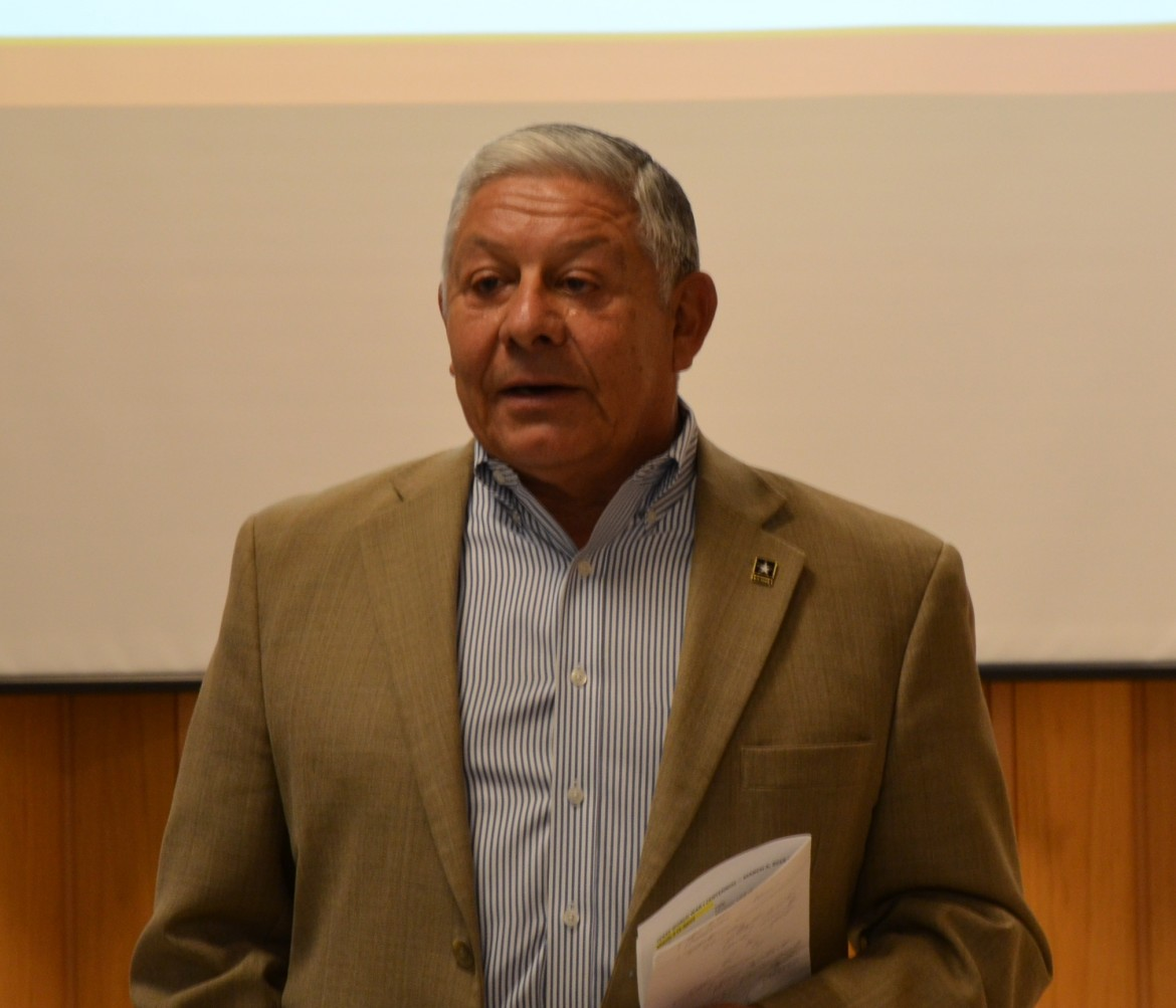 Maj.Gen. Alfred Valenzuela, WWICC Commissioner, addresses South Texas planning meeting guests